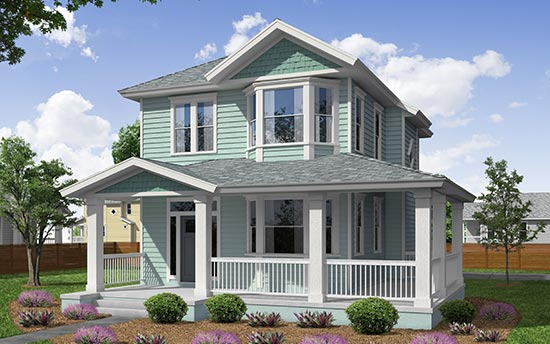 Talbot Model Home Rendering in Historic Springfield of Jacksonville, Florida, a popular seller for TerraWise Homes.