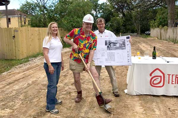 Melody and David Shacter helping out in Springfield to break ground on a new development.